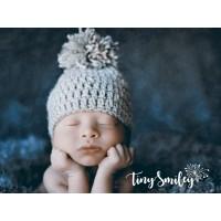 Newborn pompom baby beanie, Winter pompom boy hat, Wool newborn hat