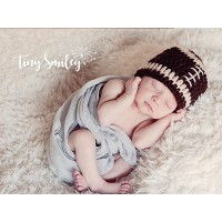 Football crochet baby boy Hat, Newborn boy outfit, Baby boy brown football hat