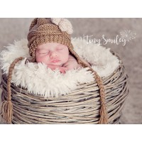 Brown baby winter hat with flower, Newborn baby hat with braids