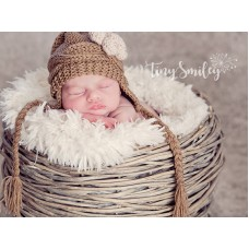 Earflap Cable Knit Baby Girl Hat