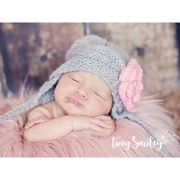 Earflap flower knit baby girl hat, Gray wool baby hat, Newborn baby hand knitted hat