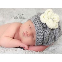 Wool gray knit baby hat, Hand knitted newborn gray baby beanie