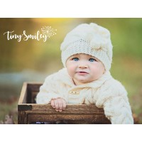 Knit cream girl hat, Winter newborn baby hat, Girl beanie cabled