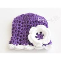 Purple baby girl beanie, Crochet girl  flower hat, Girl crochet outfit