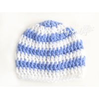 Striped Newborn Hat, Crochet baby boy hat, Baby hats boy, Crochet newborn beanie, White blue striped baby hat