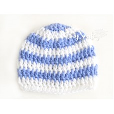 Striped Newborn Hat White Blue