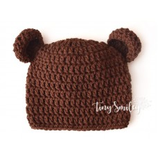 Baby Hat with Ears Brown Bear Hat