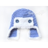 Blue crochet aviator hat, Blue boy aviator hat, Newborn pilot hat crochet