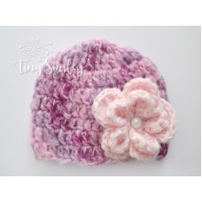 Pink Flower Baby Girl Hat