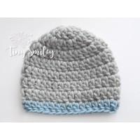 Winter wool boy hat, Gray boy hat, Gray newborn beanie, Chunky crochet boy hat