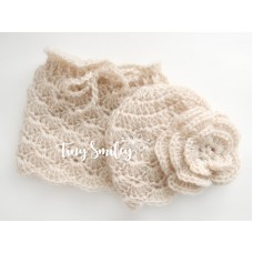 Newborn Mohair Baby Set Hat and Skirt