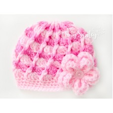 Pink Baby Girl Flower Hat Newborn Striped Hat