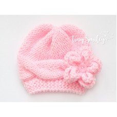 Pink Cable Knit Baby Girl Hat