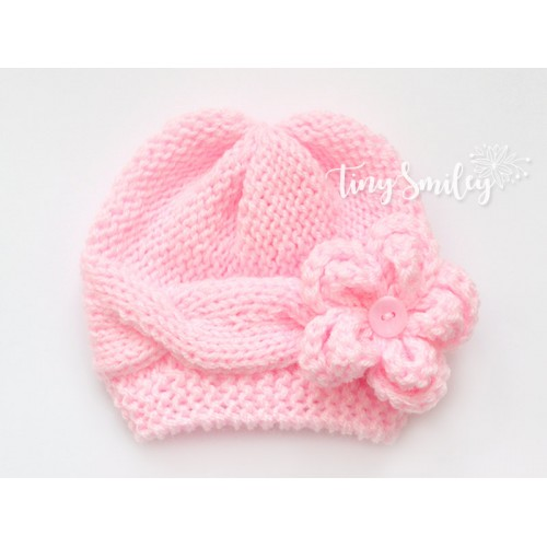 05e9f8b5726 Pink Cable Knit Baby Girl Hat