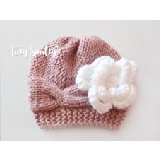 Cable Knit Baby Girl Flower Hat