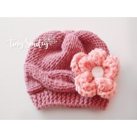 Mauve cable girl hat for winter, Baby knit hats newborn girl, Tinysmiley