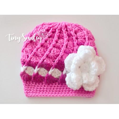 pink baby girl crochet flower hat