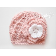 Pink Baby Girl Flower Hat Newborn Outfit