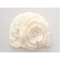 Cream Mohair Baby Girl Hat