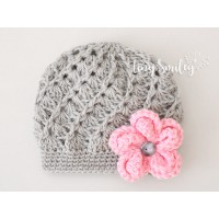 Flower gray crochet girl hats, Hospital baby girl beanie, Hat baby girl
