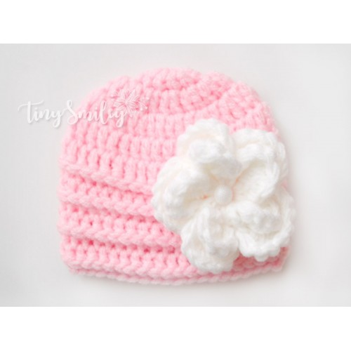 5a6896987c5 Pink Baby Girl Flower Hat Newborn Crochet Hat