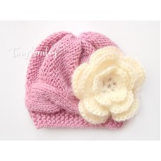 Mauve Cable Knit Baby Girl Hat