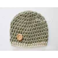 Crochet olive green baby hat, Newborn boy beanie, Wool baby hat, Tinysmiley
