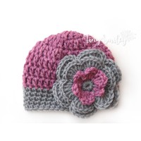Mauve baby girl flower hat, Newborn outfit