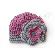 Mauve Baby Girl Flower Hat Newborn Outfit