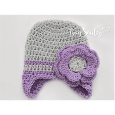 Gray Earflap Baby Girl Hat