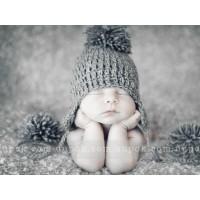 Baby pompom earflap hat, Gray ear flaps crochet newborn hat pom pom