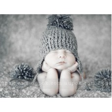 Baby pom pom Hat, Baby boy hat, Crochet gray earflap hat, Photo prop, Newborn boy hat, Pompom boy hat, Earflap boy hat