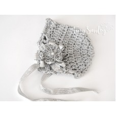 Silver Gray Baby Girl Bonnet