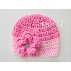 Pink Baby Girl Flower Hat Newborn Hat