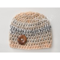 Baby boy hat, Crochet baby hat, Button baby hat, Hospital boy hat, Baby boy outfits, Hats for boys, Multicolored beige baby hat