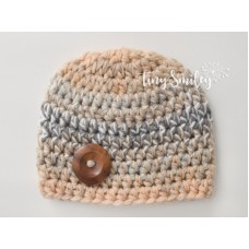 Beige Button Boy Hat