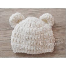 Baby Hat with Ears Cream Teddy Bear Hat