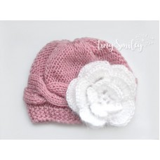 Baby Girl Cable Hat Flower Hat