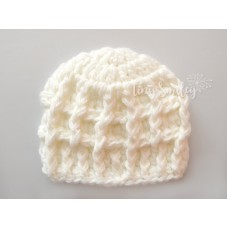 Baby Boy Cream Teddy Bear Hat