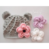 Baby bear crochet hats, Gray bear crochet hat, Bear hat  with Interchangeable flowers