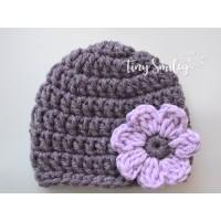 Purple baby girl crochet hat, Crochet girl with flower, Newborn flower hats