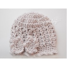 Bow Baby Hat Take Home Outfit Beige