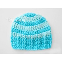 Striped blue turquoise boy hat, Newborn baby boy crochet hat, Tinysmiley
