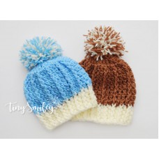 Twin baby boy pompom hats, Hospital outfit, Crochet twin hats