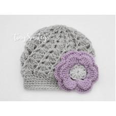 Crochet Baby Girl Hat Gray Baby Hat