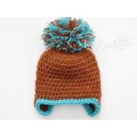 Boy pompom baby hats, Brown baby boy pom pom hat, Hats boys Winter