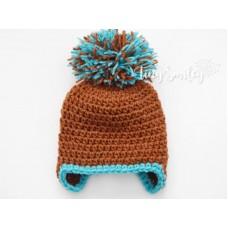 Pompom Baby Boy Hat Brown Hat