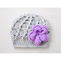 Lace flower crochet beanie, Newborn girl hat with flower, Tinysmiley