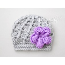 Crochet Baby Girl Hat Gray Baby Hat