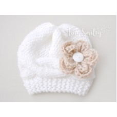 White Cable Knit Baby Girl Hat